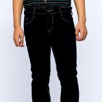 Quần jeans ống côn xanh đen chỉ nổi J43