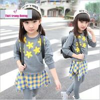 Bộ áo và quần váy cotton cho bé gái V103