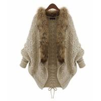 Áo khoác len cardigan kết lông cổ