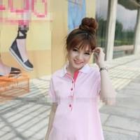 Áo bầu kiểu hàn quốc màu hồng dễ thương hàng thun cao cấp DB417