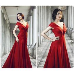 Đầm dạ hội bẹt vai hở V sang trọng quyến rũ - D947