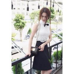 Đầm ren trắng váy đen Ngọc Trinh D284