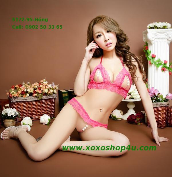 S172 Quần áo lót sexy bikini có hạt chuỗi khiêu khích màu hồng đậm 7