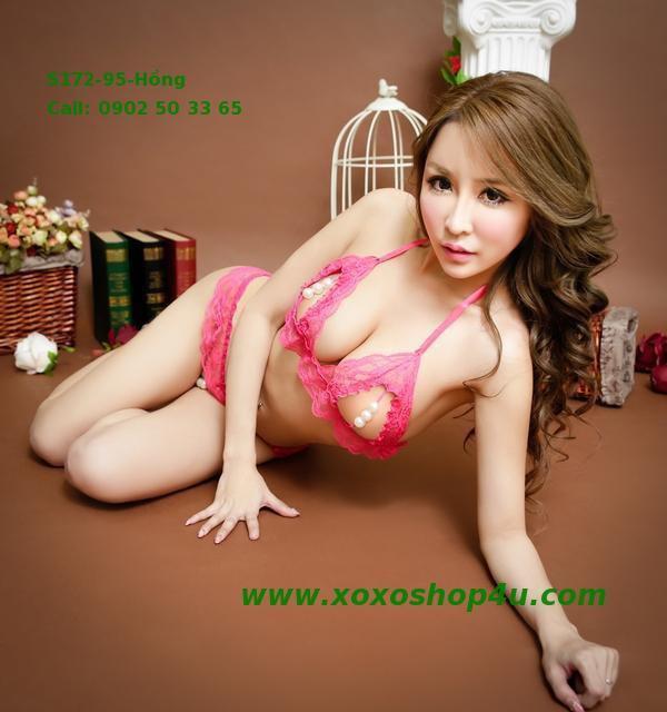 S172 Quần áo lót sexy bikini có hạt chuỗi khiêu khích màu hồng đậm 10