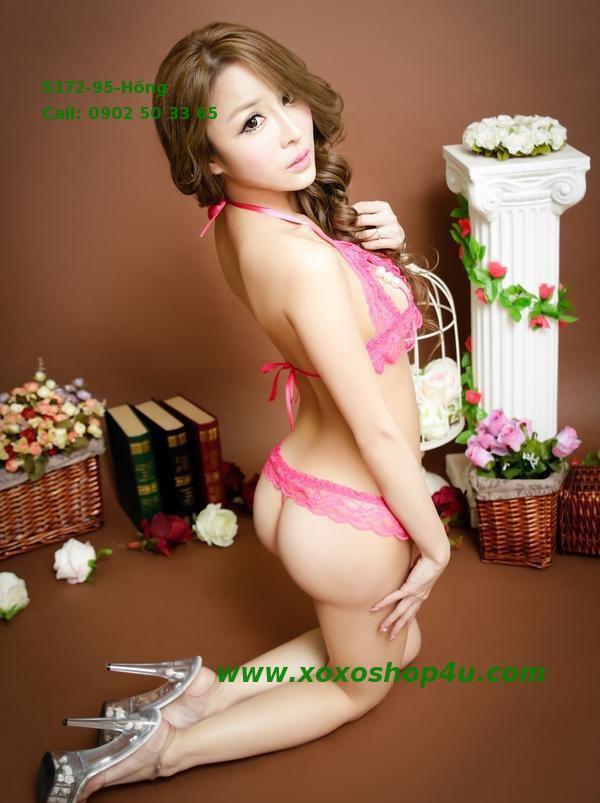 S172 Quần áo lót sexy bikini có hạt chuỗi khiêu khích màu hồng đậm 9