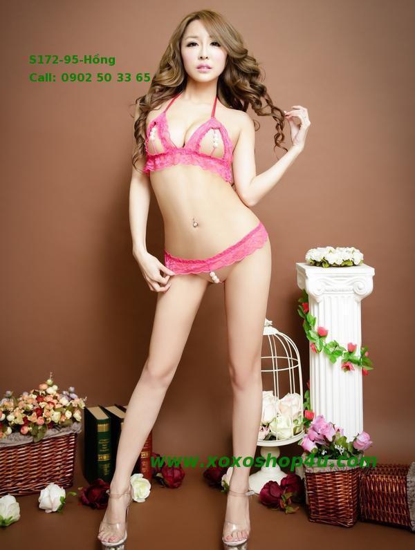S172 Quần áo lót sexy bikini có hạt chuỗi khiêu khích màu hồng đậm 6