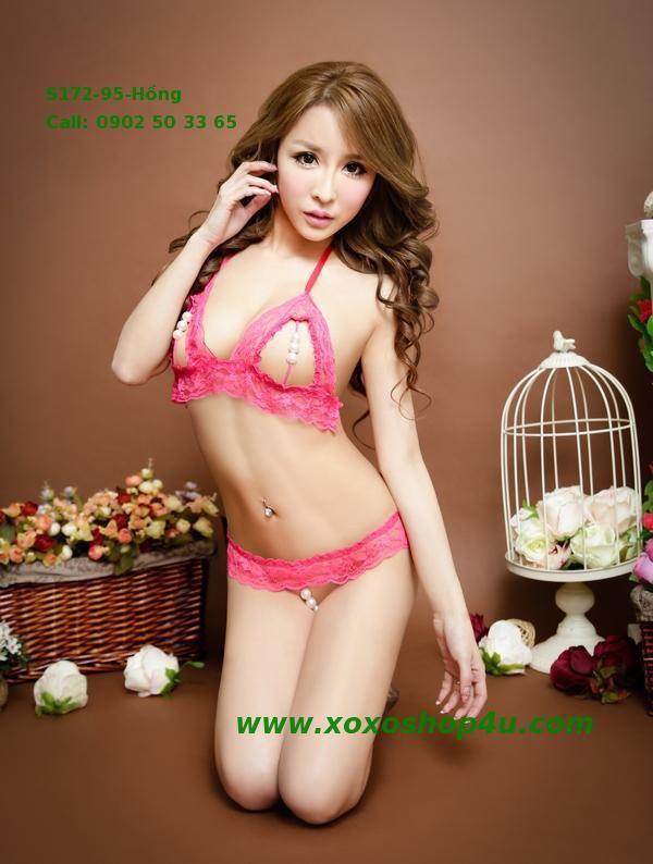 S172 Quần áo lót sexy bikini có hạt chuỗi khiêu khích màu hồng đậm 8