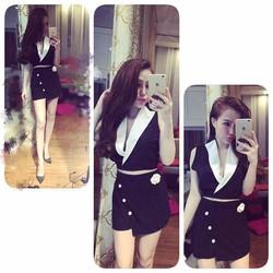 Set áo vest croptop phối màu + Chân váy đính nút