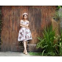 ĐẸP SHOP - Xưởng may chuyên sỉ - Đầm xòe bẹt vai họa tiết hoa hồng
