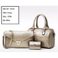 Bộ túi 3 sản phẩm da mềm vân hoa nổi T143