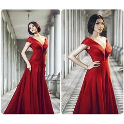 Đầm dạ hộicổ V bẹt vai sang trọng quyến rũ