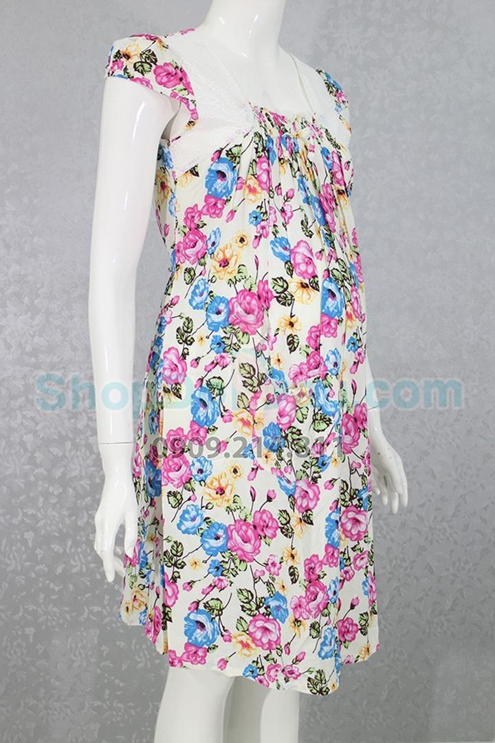 Đầm bầu mặc nhà vải bông tôn 2