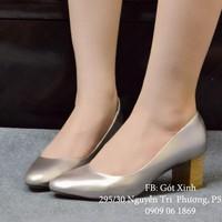 Giày gót vuông bít mũi tròn 5 phân màu bạc-GX250