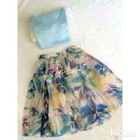 Set áo voan và chân váy hoa xòe cao cấp - DA26