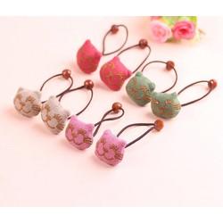 Set 4 đôi dây cột tóc bông mặt mèo phong cách Hàn Quốc