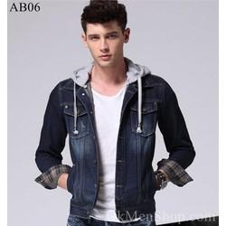 Áo bò nam áo khoác jeans có mũ đẹp