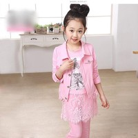 Set áo, quần và áo khoác thu đông cao cấp nhập khẩu cho bé gái  V098