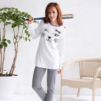 Bộ thun dài họa tiết Mèo cười cực dễ thương nha SEB232