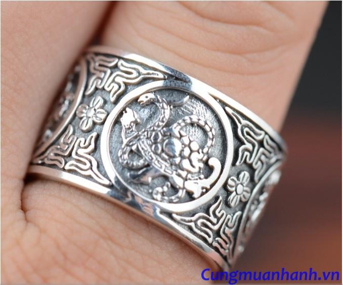 Nhẫn Khắc TỨ Linh Và Hoa Văn Phật Giáo - NH118 3