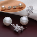 HÀNG NHẬP-Bông tai bạc ngọc trai kim cương cao cấp cực sang trọng ZT03
