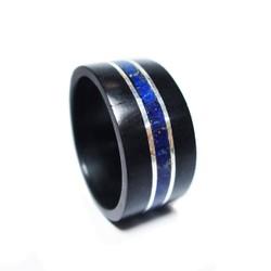 Nhẫn gỗ mun cẩn bạc và đá tourquoise xanh dương