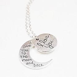 Vòng cổ I love you to the moon and back màu bạc