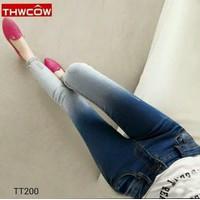 Quần jeans dài 2 màu ống xù bông