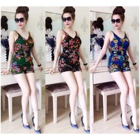 Jum Short 2 dây họa tiết hoa kèm belt Ngoc Lang Phuong