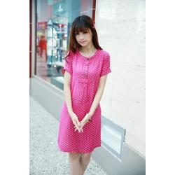 Đầm bầu ngắn tay thời trang, họa tiết chấm bi trẻ trung