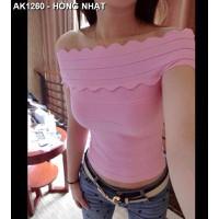 Áo len nữ cổ thuyền răng cưa Mã: AK1260 - HỒNG NHẠT