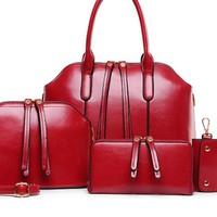 Bộ bốn sản phẩm túi xách thời trang da bóng đỏ rượu vang quyến rũ-190