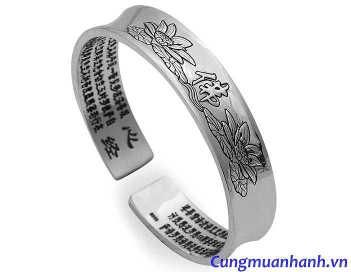 Vòng tay khắc Hoa Sen Cát Tường - Bát Nhã Tâm Kinh  - VT203 8