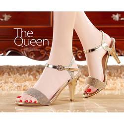 Giày cao gót quai ngang kim tuyến