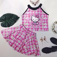 Set áo yếm quần giả váy xòe Hello Kitty Thái Lan