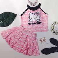 Set áo cổ yếm viền đen quần giả váy xòe Hello Kitty Thái Lan