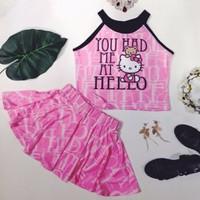 Set áo cổ yếm quần giả váy xòe Hello Kitty Thái Lan