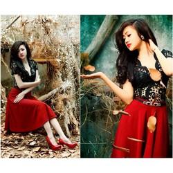 Set nguyên bộ áo ren đen chân váy đỏ ko kèm belt - SET673