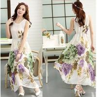 Đầm Maxi Hoa Tranh