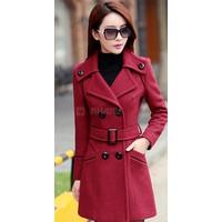 Áo khoác đỏ form dài Hàn Quốc