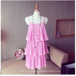 Đầm hồng 2 dây xếp ly bèo tầng