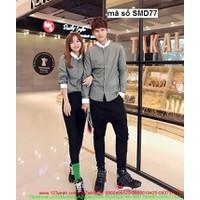 Shop tình nhân : Sơ mi cặp đôi tình nhân cổ phối sành điệu pSMD77