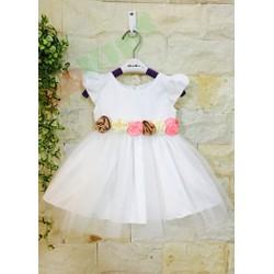 Đầm dự tiệc phi trắng kết hoa hồng cao cấp