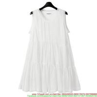 Shop bà bầu : Đầm oversize xếp ly trắng tinh xinh xuống phố uDBG9