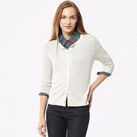 Cardigan lông cừu nữ màu 01 Off White hãng Uniqlo - hàng nhập Nhật