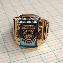 Nhẫn inox vàng cẩn đá xanh ngọc