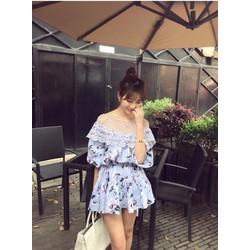 Đầm hoa xanh phối ren vai
