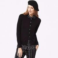 Cardigan lông cừu nữ màu 09 Black hãng Uniqlo - hàng nhập Nhật