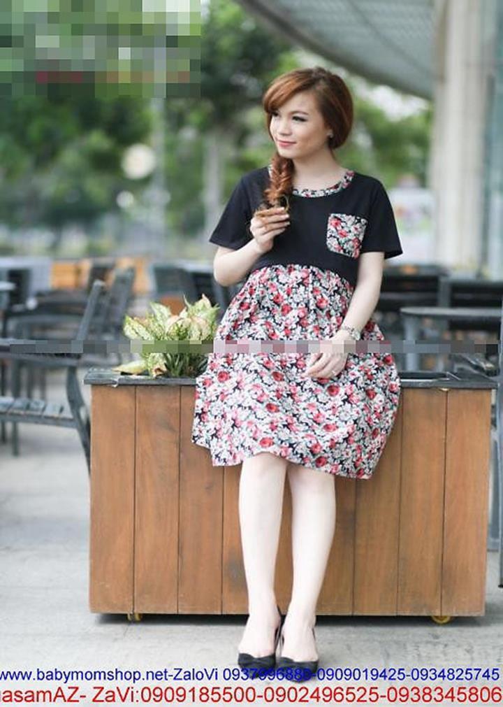 Đầm bầu korea Có thể cho bé bú họa tiết hoa DB411 1