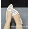 Giày búp bê mũi nhọn cắt lazer trắng-GX258