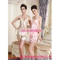 Shop đồ ngủ : Bộ đồ ngủ phi bóng phối ren chất phi bóng DLS44